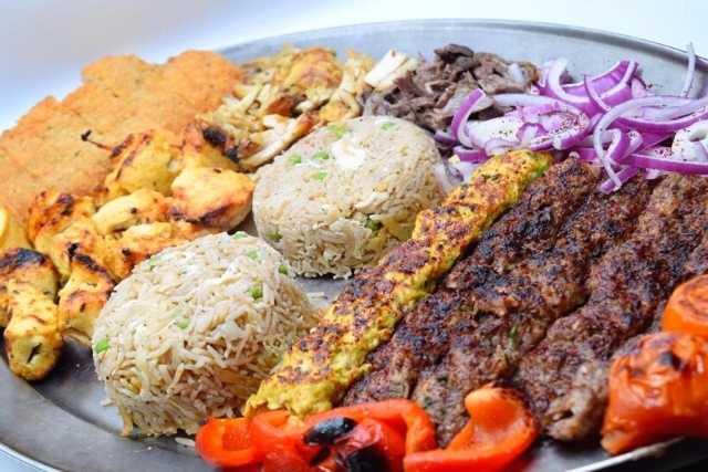 shish-kabob-chicken-skewer-rice-grilled-vegetables